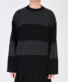 <img class='new_mark_img1' src='https://img.shop-pro.jp/img/new/icons49.gif' style='border:none;display:inline;margin:0px;padding:0px;width:auto;' />LAD MUSICIAN <BR>STITCH BORDER KNIT PULLOVER (CHARCOAL×BLACK) SOLD OUT
