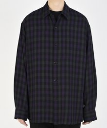 <img class='new_mark_img1' src='https://img.shop-pro.jp/img/new/icons49.gif' style='border:none;display:inline;margin:0px;padding:0px;width:auto;' />LAD MUSICIAN <BR>TWILL GUN CLUB CHECK BIG SHIRT (DARK PURPLE×NAVY) SOLD OUT
