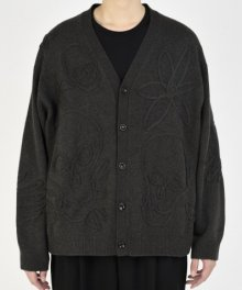 <img class='new_mark_img1' src='https://img.shop-pro.jp/img/new/icons49.gif' style='border:none;display:inline;margin:0px;padding:0px;width:auto;' />LAD MUSICIAN <BR>MERINO WOOL CODE EMBROIDERY KNIT FLOWER SKULL CARDIGAN (DARK GRAY) SOLD OUT