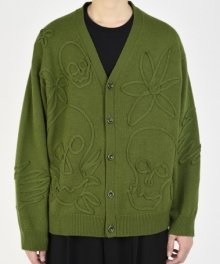 <img class='new_mark_img1' src='https://img.shop-pro.jp/img/new/icons49.gif' style='border:none;display:inline;margin:0px;padding:0px;width:auto;' />LAD MUSICIAN <BR>MERINO WOOL CODE EMBROIDERY KNIT FLOWER SKULL CARDIGAN (GREEN) SOLD OUT