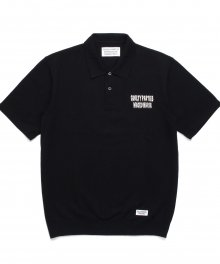 <img class='new_mark_img1' src='https://img.shop-pro.jp/img/new/icons49.gif' style='border:none;display:inline;margin:0px;padding:0px;width:auto;' />WACKOMARIA<BR> KNIT POLO SHIRT (BLACK) SOLD OUT