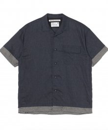 <img class='new_mark_img1' src='https://img.shop-pro.jp/img/new/icons49.gif' style='border:none;display:inline;margin:0px;padding:0px;width:auto;' />White<BR>Mountaineering<BR>LAYERED HALF SLEEVES OPEN COLLAR SHIRT (NAVY) SOLD OUT
