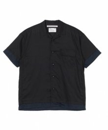 <img class='new_mark_img1' src='https://img.shop-pro.jp/img/new/icons49.gif' style='border:none;display:inline;margin:0px;padding:0px;width:auto;' />White<BR>Mountaineering<BR>LAYERED HALF SLEEVES OPEN COLLAR SHIRT (BLACK) SOLD OUT