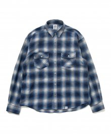 """<img class='new_mark_img1' src='https://img.shop-pro.jp/img/new/icons8.gif' style='border:none;display:inline;margin:0px;padding:0px;width:auto;' />BEDWIN <BR>L/S FLANNEL CHECK SHIRT """"RICK"""" (BLUE)"""
