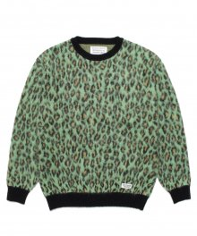 <img class='new_mark_img1' src='https://img.shop-pro.jp/img/new/icons49.gif' style='border:none;display:inline;margin:0px;padding:0px;width:auto;' />WACKOMARIA<BR> LEOPARD MOHAIR CREW NECK SWEATER ( TYPE-1 ) (GREEN) 【SOLD OUT】