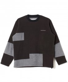 <img class='new_mark_img1' src='https://img.shop-pro.jp/img/new/icons8.gif' style='border:none;display:inline;margin:0px;padding:0px;width:auto;' />White<BR>Mountaineering<BR>PATCHWORK FLEECE CREWNECK (BLACK)