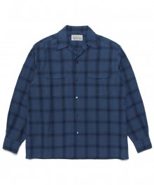<img class='new_mark_img1' src='https://img.shop-pro.jp/img/new/icons8.gif' style='border:none;display:inline;margin:0px;padding:0px;width:auto;' />WACKOMARIA<BR> OMBRAY CHECK OPEN COLLAR SHIRT ( TYPE-1 ) (BLUE)