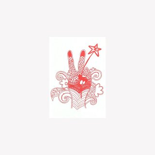 ポストカード  PEACE HAND  (Red)