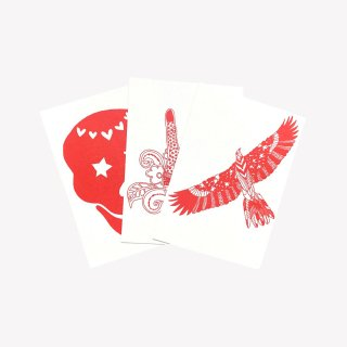 『Zakee Shariff』3点セット LOVE SKULL/PEACE HAND/FLY LIKE AN EAGLE  (Red)