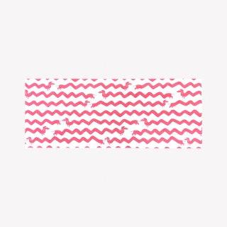 手ぬぐい SAUSAGE DOG (Salmon Pink)