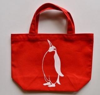 ペンギントートバッグ、赤、penguin, キャンバス、小