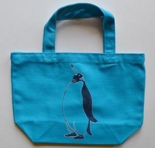 ペンギントートバッグ、ターコイズブルー、penguin, キャンバス、小
