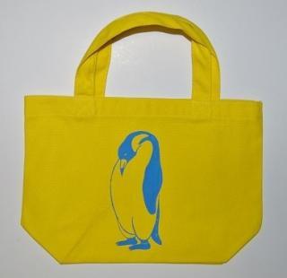 ペンギントートバッグ、黄色、penguin, キャンバス、小