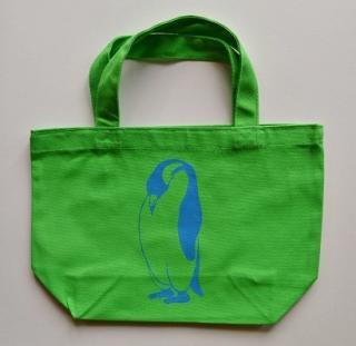 ペンギントートバッグ、黄緑、penguin, キャンバス、小
