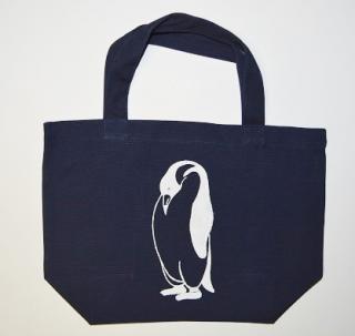 ペンギントートバッグ、ネイビー、penguin, キャンバス、小