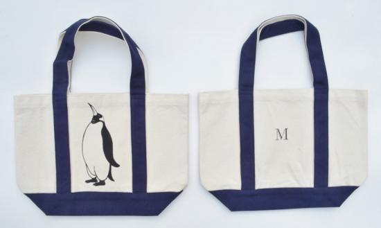 ペンギントートバッグ、イニシャル入り、キャンバスバッグ、ネイビー