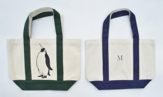 ペンギントートバッグ、イニシャル入り、キャンバスバッグ、グリーン