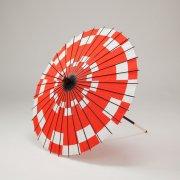 紙傘64cm 短柄 市松 / 赤
