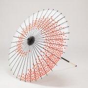 紙傘76cm 花渦 / 白地赤