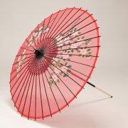 絹傘90cm  花柄 / 赤