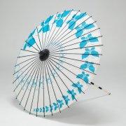 紙傘76cm 蝶々 / 白地水色