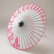 紙傘76cm 蝶々 / 白地ピンク
