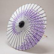 紙傘70cm  花渦 / 白地紫