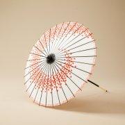 紙傘64cm 花渦 / 白地赤