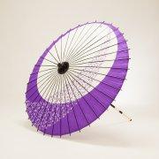 紙傘76cm 月奴桜流し / 青紫