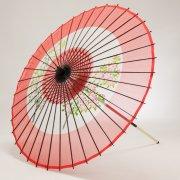 絹傘90cm 助六花柄 / 赤