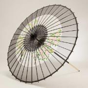 絹傘90cm 助六花柄 / 黒