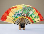 飾り扇(台付き)  9寸5分花車/秋草