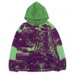 HELLRAZOR Thank you Tokyo Fleece Parka - Purple/Green