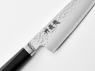 【丹巌龍プレミアム・マイカルタ 牛刀180mm】  VG10鋼 鍛造 鎚目打ち ダマスカス