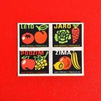 チェコスロバキアのマッチラベル・未裁断シート<四季の野菜と果物>