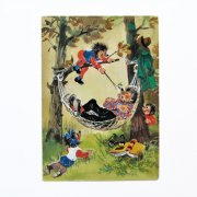 東ドイツ ヴィンテージポストカード<ハリネズミの親子・ハンモック>