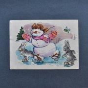 ソヴィエト ヴィンテージポストカード<スケートをする雪だるま>