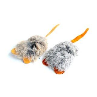 猫のおもちゃ[ガンナー]天然ファーとレザーのねずみ