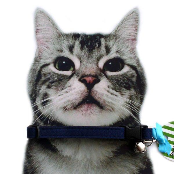 猫の首輪[Luxe]キャットカラー|ウルトラスエード|ネイビー