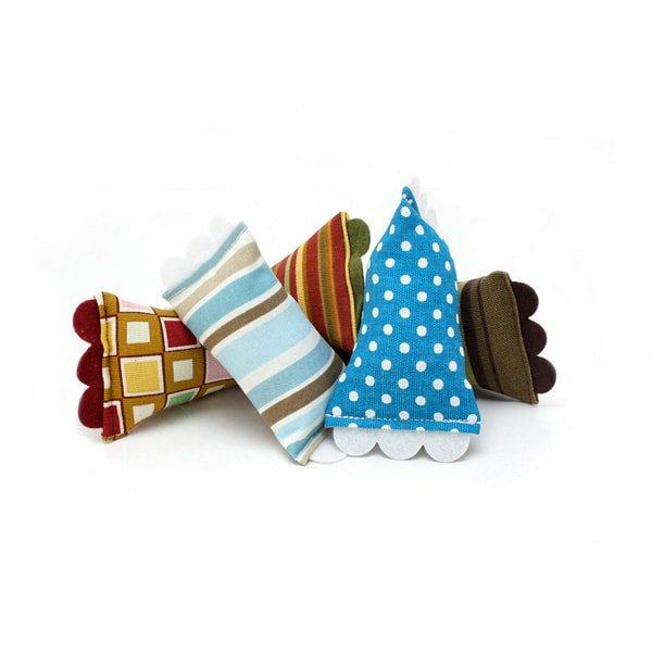 音のする猫のおもちゃ[モッドシェイカー]ライトピンク/ブラウン・ストライプ Hauspanther