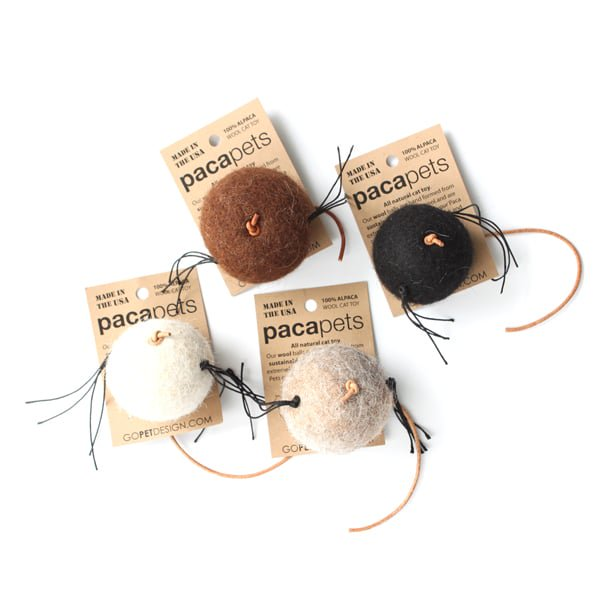 猫おもちゃ[パカペット]天然アルパカウールのフェルトボール|ブラウン