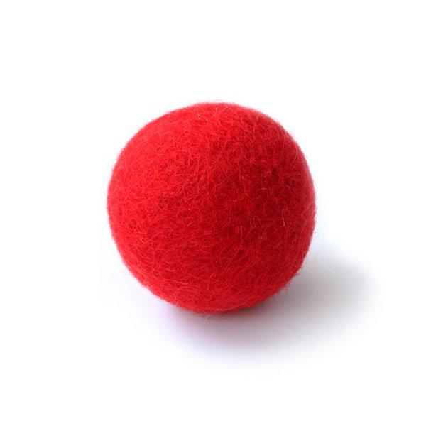 猫おもちゃ[ころころフェルトボール]単品|レッド