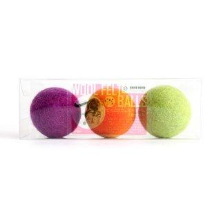 猫おもちゃ[ころころフェルトボール]3ピース ボックスセット|グレープオレンジライム