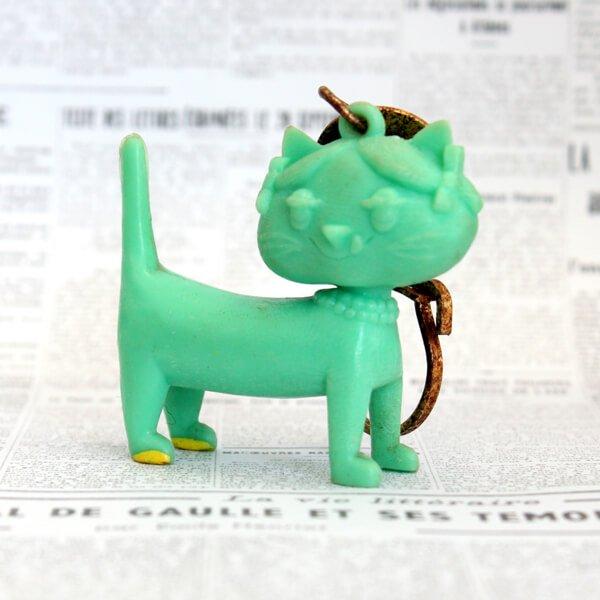 猫キーホルダー[Unimel (ユニメル)]グリーン4|フレンチアンティーク