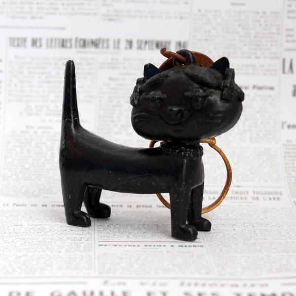 猫キーホルダー[Unimel (ユニメル)]ブラック6|フレンチアンティーク