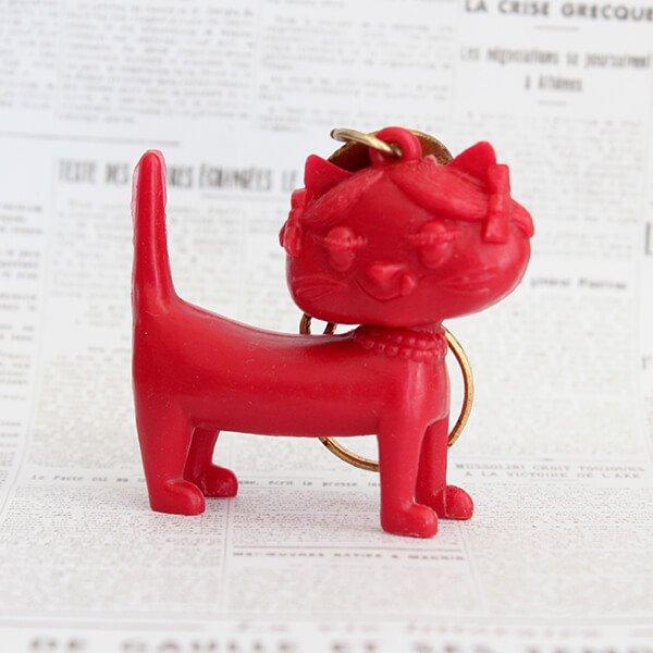 猫キーホルダー[Unimel (ユニメル)]レッド5|フレンチアンティーク