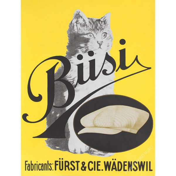猫ポスター[猫と帽子]おしゃれなインテリアアート1