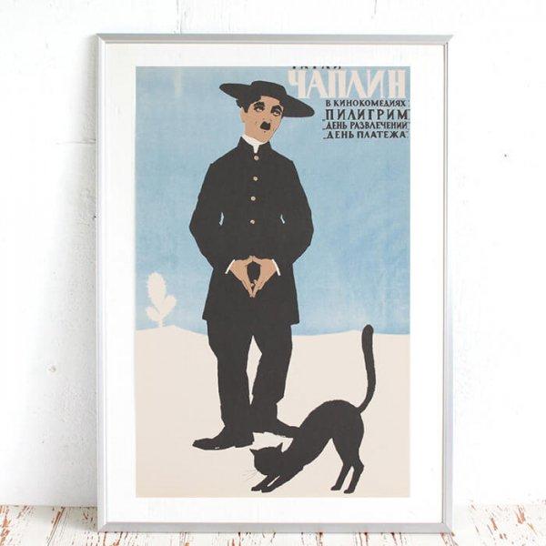 猫ポスター[チャップリンと黒猫]おしゃれなインテリアアート5