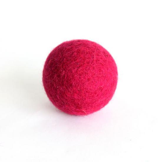 猫おもちゃ[ころころフェルトボール]単品|ワインレッド