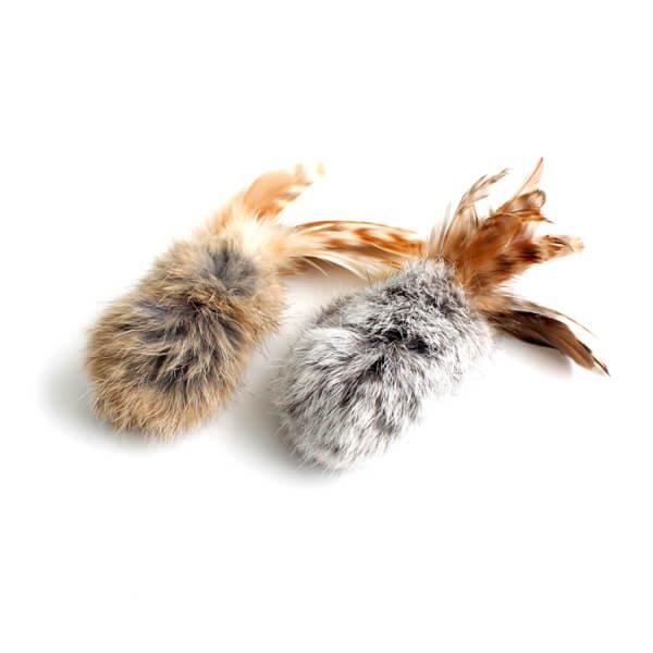 猫のおもちゃ[バービット]天然ファーと羽根の手作り安全キャットトイ